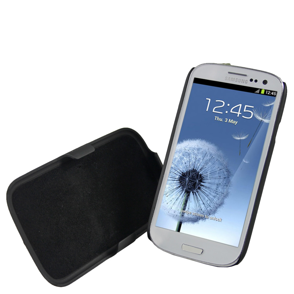iGadgitz Black Rubberised Hard Case with Detachable Stand & Belt Clip for Samsung Galaxy S3 III i9300 + Screen Protector