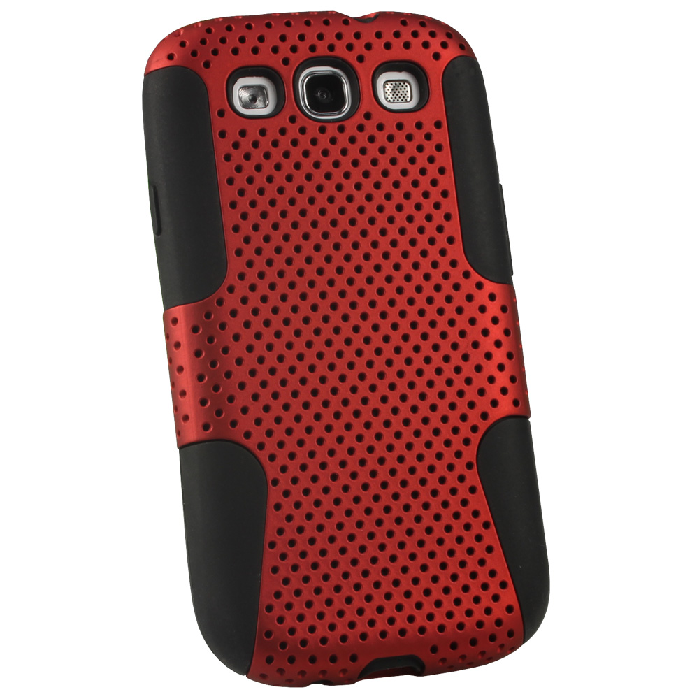 iGadgitz Black Silicone Skin Case Cover and Red PC Mesh for Samsung Galaxy S3 III i9300 + Screen Protector