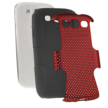 iGadgitz Black Silicone Skin Case Cover and Red PC Mesh for Samsung Galaxy S3 III i9300 + Screen Protector Thumbnail 2