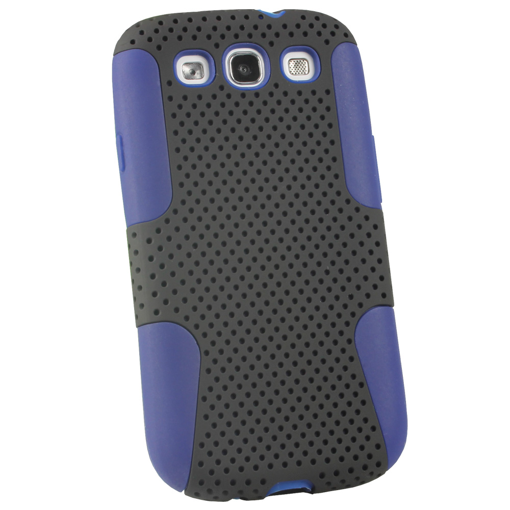 iGadgitz Blue Silicone Skin Case Cover and Black PC Mesh for Samsung Galaxy S3 III i9300 + Screen Protector