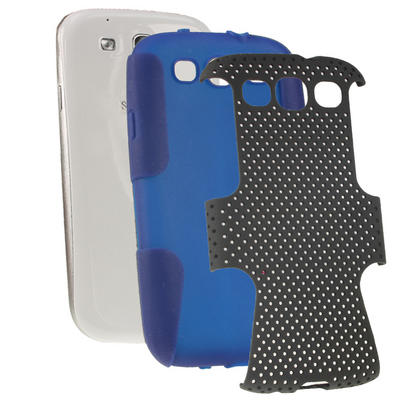 iGadgitz Blue Silicone Skin Case Cover and Black PC Mesh for Samsung Galaxy S3 III i9300 + Screen Protector Thumbnail 2
