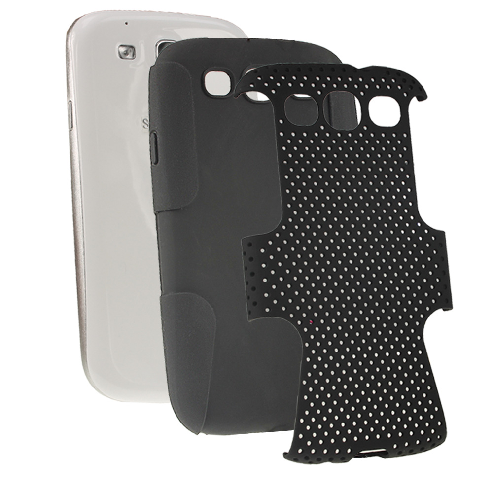 iGadgitz Black Silicone Skin Case Cover and Black PC Mesh for Samsung Galaxy S3 III i9300 + Screen Protector
