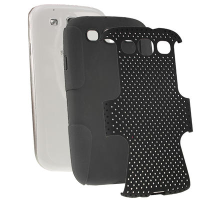 iGadgitz Black Silicone Skin Case Cover and Black PC Mesh for Samsung Galaxy S3 III i9300 + Screen Protector Thumbnail 1