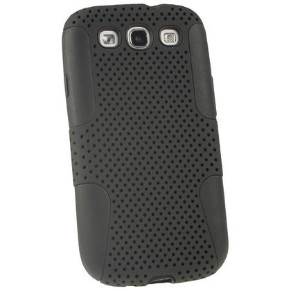 iGadgitz Black Silicone Skin Case Cover and Black PC Mesh for Samsung Galaxy S3 III i9300 + Screen Protector Thumbnail 2