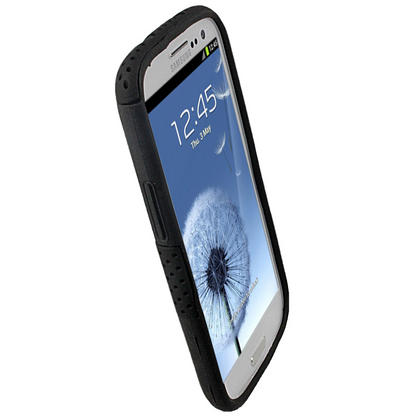 iGadgitz Black Silicone Skin Case Cover and Black PC Mesh for Samsung Galaxy S3 III i9300 + Screen Protector Thumbnail 3