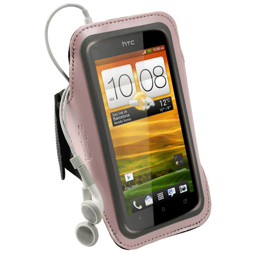 iGadgitz Pink Reflective Anti-Slip Neoprene Sports Gym Jogging Armband for HTC One S Android Smartphone Mobile Phone