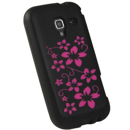 iGadgitz Black & Pink Flowers Silicone Skin Case Cover for Samsung Galaxy Ace 2 I8160 + Screen Protector Thumbnail 3