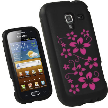 iGadgitz Black & Pink Flowers Silicone Skin Case Cover for Samsung Galaxy Ace 2 I8160 + Screen Protector Thumbnail 1