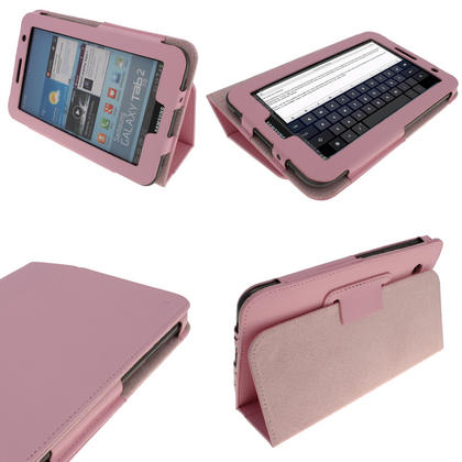 iGadgitz Pink 'Portfolio' PU Leather Case for Samsung Galaxy Tab 2 P3100 P3110 7.0 4.0 Tablet + Screen Protector Thumbnail 1