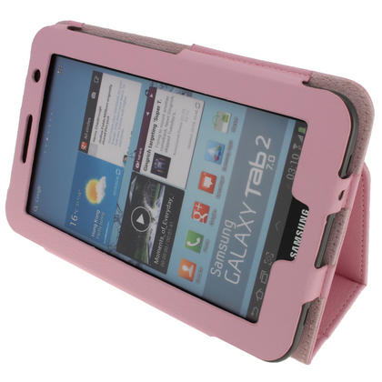 iGadgitz Pink 'Portfolio' PU Leather Case for Samsung Galaxy Tab 2 P3100 P3110 7.0 4.0 Tablet + Screen Protector Thumbnail 3