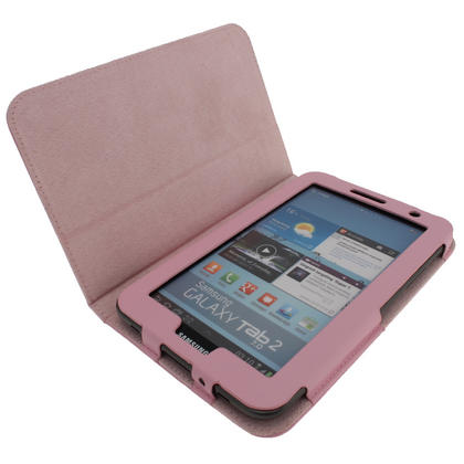 iGadgitz Pink 'Portfolio' PU Leather Case for Samsung Galaxy Tab 2 P3100 P3110 7.0 4.0 Tablet + Screen Protector Thumbnail 2