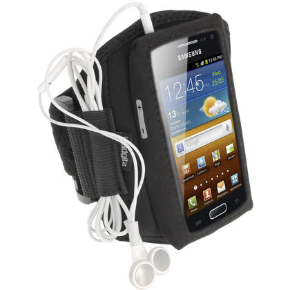iGadgitz Black Water Resistant Neoprene Sports Armband for Samsung Galaxy Ace 2 I8160 Thumbnail 1