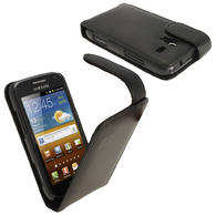 iGadgitz Black Leather Case Cover Holder for Samsung Galaxy Ace 2 I8160 + Screen Protector