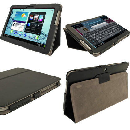 iGadgitz Black 'Portfolio' PU Leather Case for Samsung Galaxy Tab 2 10.1 P5100 P5110 4.0 Tablet + Screen Protector Thumbnail 1