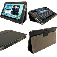 iGadgitz Black 'Portfolio' PU Leather Case for Samsung Galaxy Tab 2 10.1 P5100 P5110 4.0 Tablet + Screen Protector