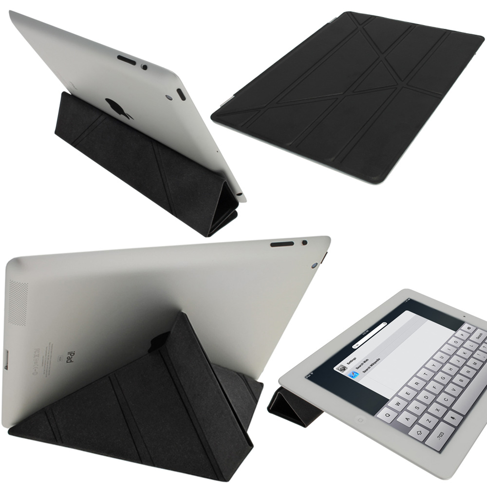 iGadgitz Black Faux Leather Cover for Apple iPad 2, 3 & 4 with Retina Display. With Sleep/Wake & Magnetic Clip