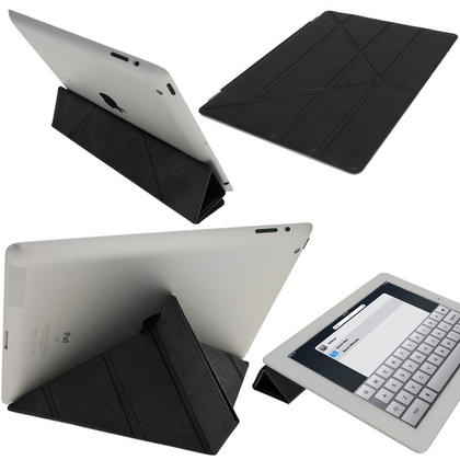 iGadgitz Black Faux Leather Cover for Apple iPad 2, 3 & 4 with Retina Display. With Sleep/Wake & Magnetic Clip Thumbnail 1