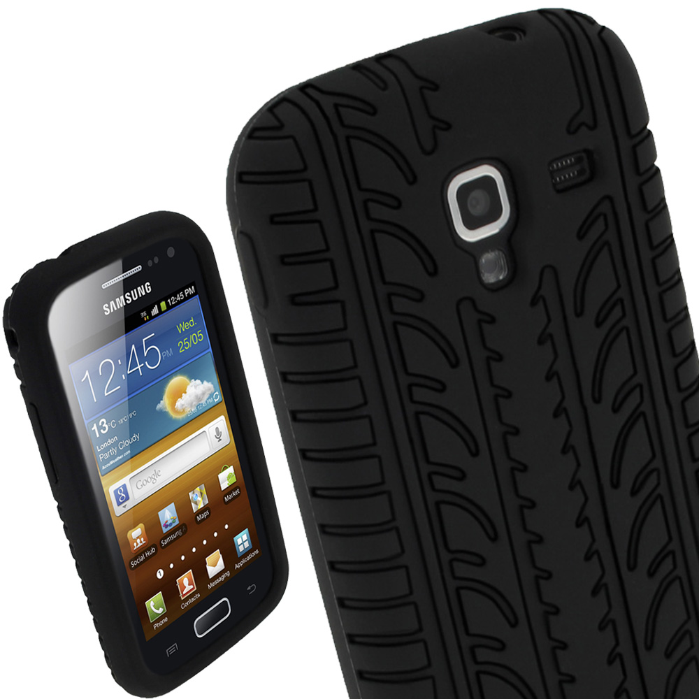 iGadgitz Black Silicone Skin Case Cover with Tyre Tread Design for Samsung Galaxy Ace 2 I8160 + Screen Protector