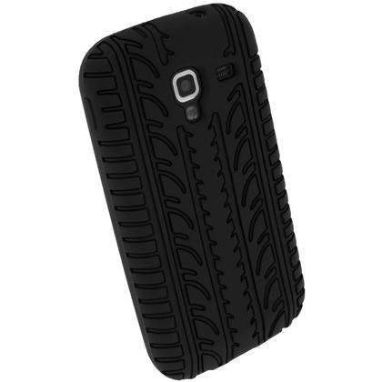 iGadgitz Black Silicone Skin Case Cover with Tyre Tread Design for Samsung Galaxy Ace 2 I8160 + Screen Protector Thumbnail 3