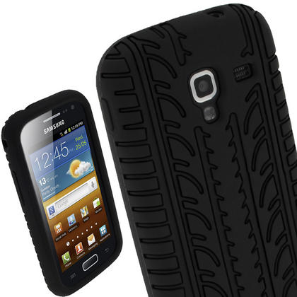 iGadgitz Black Silicone Skin Case Cover with Tyre Tread Design for Samsung Galaxy Ace 2 I8160 + Screen Protector Thumbnail 1