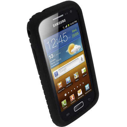iGadgitz Black Silicone Skin Case Cover with Tyre Tread Design for Samsung Galaxy Ace 2 I8160 + Screen Protector Thumbnail 2