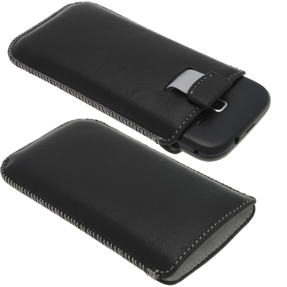 iGadgitz Black Genuine Leather Pouch Case with Elasticated Pull Tab for Samsung Galaxy Ace 2 & 3 I8160 S7275