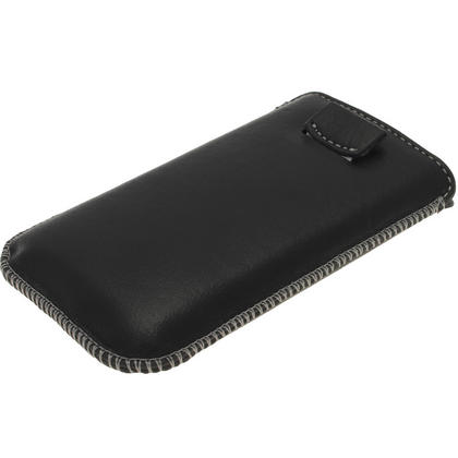 iGadgitz Black Genuine Leather Pouch Case with Elasticated Pull Tab for Samsung Galaxy Ace 2 & 3 I8160 S7275 Thumbnail 3