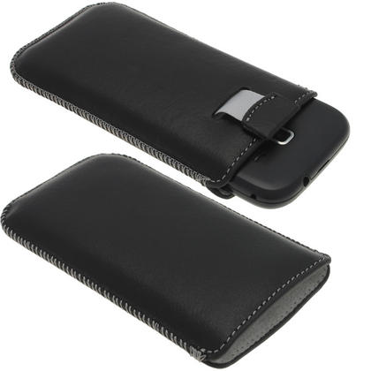 iGadgitz Black Genuine Leather Pouch Case with Elasticated Pull Tab for Samsung Galaxy Ace 2 & 3 I8160 S7275 Thumbnail 1