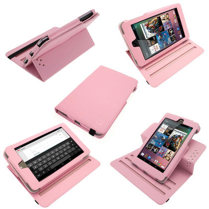 iGadgitz Pink 360° Rotating Detachable PU Leather Case Cover for Google Nexus 7 2012 1st Generation Android 4.1 Tablet 8GB 16GB. With Sleep/Wake Function + Screen Protector (NOT suitable for the 2nd Generation released August 2013) Thumbnail 1