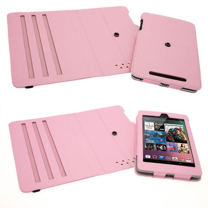 iGadgitz Pink 360° Rotating Detachable PU Leather Case Cover for Google Nexus 7 2012 1st Generation Android 4.1 Tablet 8GB 16GB. With Sleep/Wake Function + Screen Protector (NOT suitable for the 2nd Generation released August 2013) Thumbnail 7