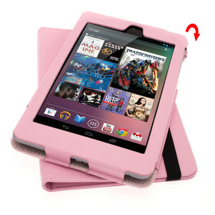 iGadgitz Pink 360° Rotating Detachable PU Leather Case Cover for Google Nexus 7 2012 1st Generation Android 4.1 Tablet 8GB 16GB. With Sleep/Wake Function + Screen Protector (NOT suitable for the 2nd Generation released August 2013) Thumbnail 6
