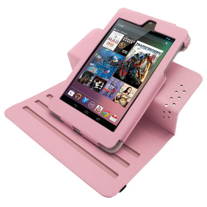 iGadgitz Pink 360° Rotating Detachable PU Leather Case Cover for Google Nexus 7 2012 1st Generation Android 4.1 Tablet 8GB 16GB. With Sleep/Wake Function + Screen Protector (NOT suitable for the 2nd Generation released August 2013) Thumbnail 4
