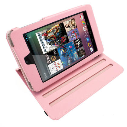 iGadgitz Pink 360° Rotating Detachable PU Leather Case Cover for Google Nexus 7 2012 1st Generation Android 4.1 Tablet 8GB 16GB. With Sleep/Wake Function + Screen Protector (NOT suitable for the 2nd Generation released August 2013) Thumbnail 3