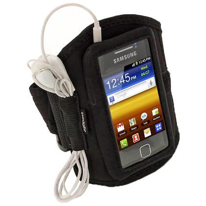 iGadgitz Black Water Resistant Neoprene Sports Armband for Samsung Galaxy Y S5360 Thumbnail 1