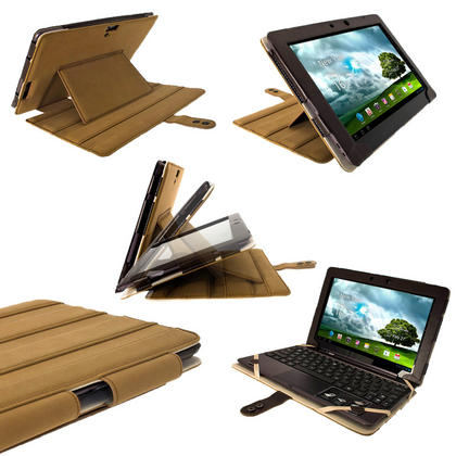 "iGadgitz Brown 'Guardian' Genuine Leather Case for Asus Transformer Pad & Keyboard Dock TF700 TF700T Infinity 10.1"" Tab Thumbnail 1"