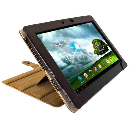 "iGadgitz Brown 'Guardian' Genuine Leather Case for Asus Transformer Pad & Keyboard Dock TF700 TF700T Infinity 10.1"" Tab Thumbnail 8"