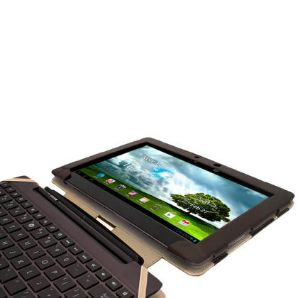 "iGadgitz Brown 'Guardian' Genuine Leather Case for Asus Transformer Pad & Keyboard Dock TF700 TF700T Infinity 10.1"" Tab Thumbnail 6"
