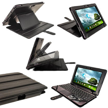 """iGadgitz Black 'Guardian' PU Leather Case for Asus Transformer Pad & Keyboard Dock TF700 TF700T Infinity 10.1"""" Tablet Thumbnail 1"""
