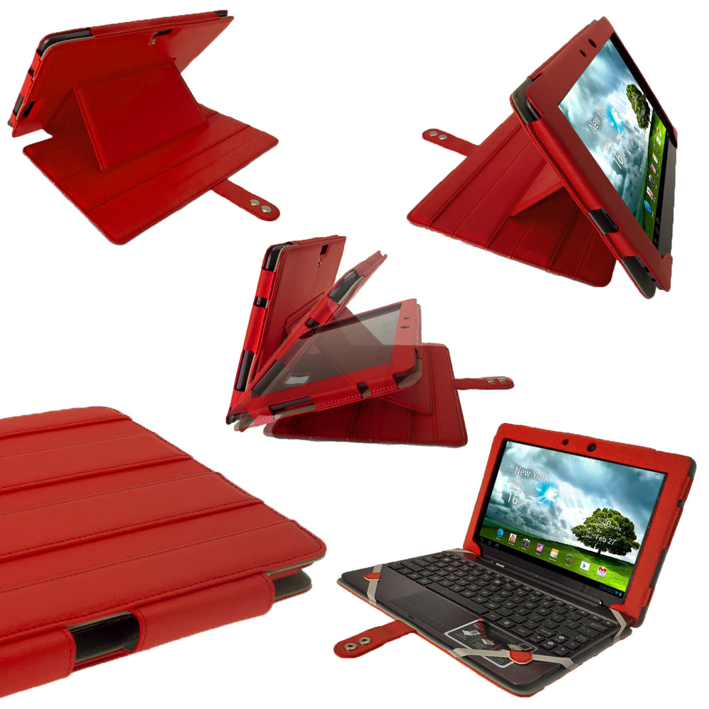 "iGadgitz Red 'Guardian' PU Leather Case for Asus Transformer Pad & Keyboard Dock TF700 TF700T Infinity 10.1"" Tablet"