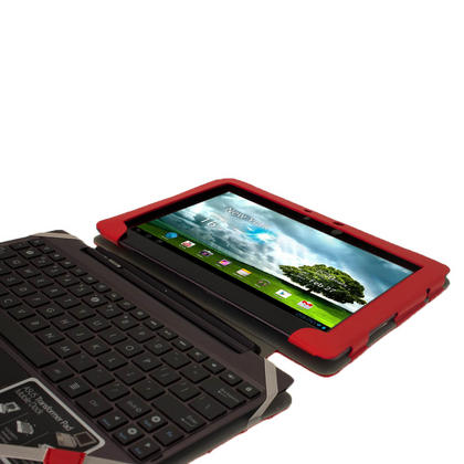 "iGadgitz Red 'Guardian' PU Leather Case for Asus Transformer Pad & Keyboard Dock TF700 TF700T Infinity 10.1"" Tablet Thumbnail 6"