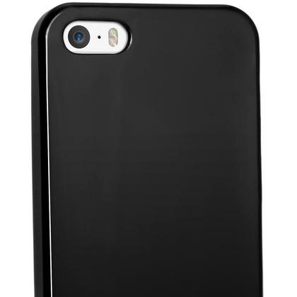 iGadgitz Black Glossy Gel Case for Apple iPhone SE, 5S & 5 + Screen Protector (not suitable for 5C) Thumbnail 4
