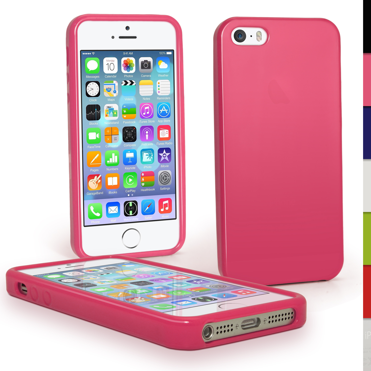 iGadgitz Pink Glossy Gel Case for Apple iPhone SE, 5S & 5 + Screen Protector (not suitable for 5C)