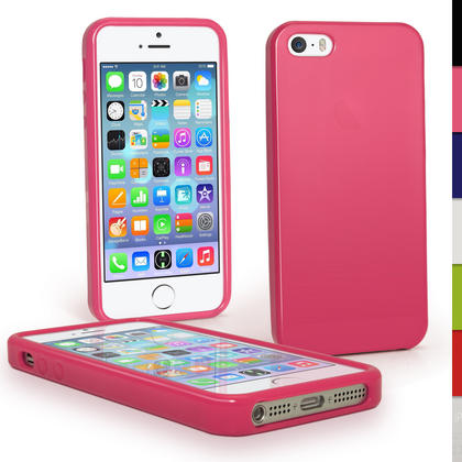 iGadgitz Pink Glossy Gel Case for Apple iPhone SE, 5S & 5 + Screen Protector (not suitable for 5C) Thumbnail 1