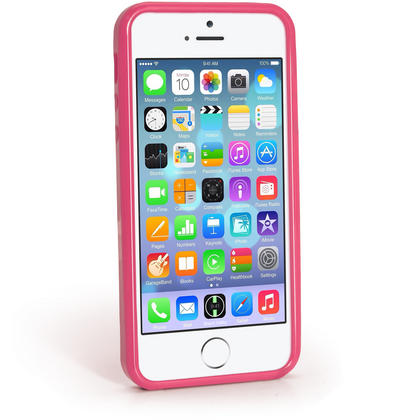 iGadgitz Pink Glossy Gel Case for Apple iPhone SE, 5S & 5 + Screen Protector (not suitable for 5C) Thumbnail 3