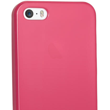 iGadgitz Pink Glossy Gel Case for Apple iPhone SE, 5S & 5 + Screen Protector (not suitable for 5C) Thumbnail 4