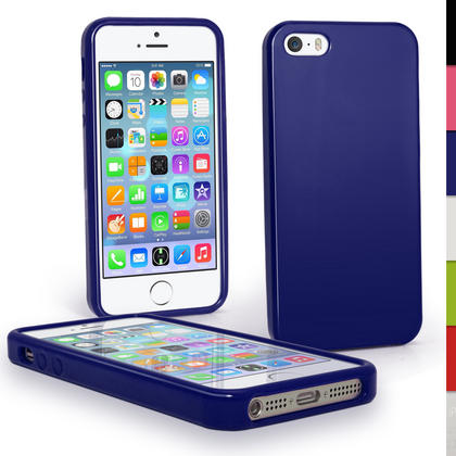 iGadgitz Blue Glossy Gel Case for Apple iPhone SE, 5S & 5 + Screen Protector (not suitable for 5C) Thumbnail 1