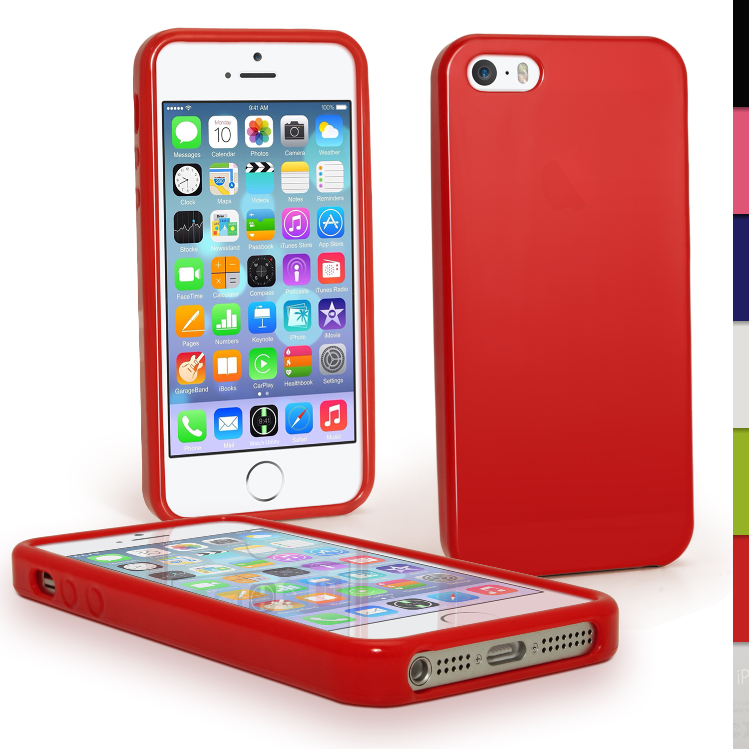9ea3bc2e109 Red Glossy TPU Case for Apple iPhone 5 5S SE Mobile Phone 4G LTE Skin Cove