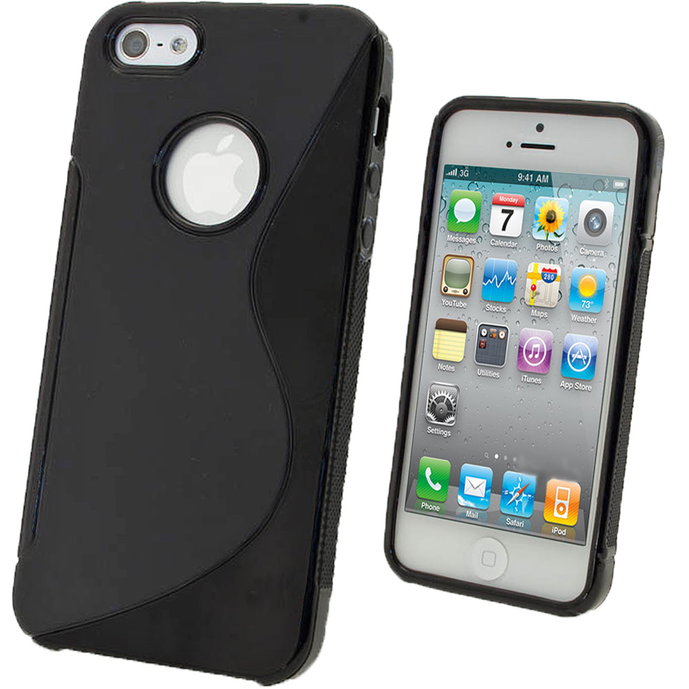 separation shoes fdb4f f9b01 Details about Black S Line TPU Case for Apple iPhone 5 5S SE Protective  Cover + Screen Prot