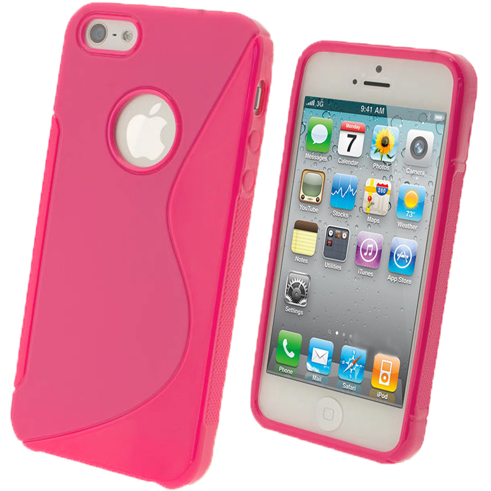 iGadgitz S-Line Pink Gel Case for Apple iPhone SE, 5S & 5 + Screen Protector (not suitable for 5C)