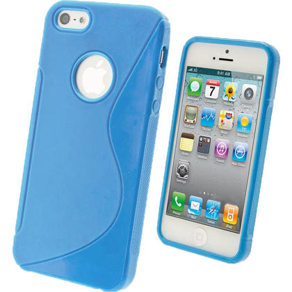 iGadgitz S-Line Blue Gel Case for Apple iPhone SE, 5S & 5 + Screen Protector (not suitable for 5C) Thumbnail 1
